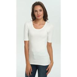 zhAjh Women Cotton Modal Spandex Crewneck Half Sleeve tee