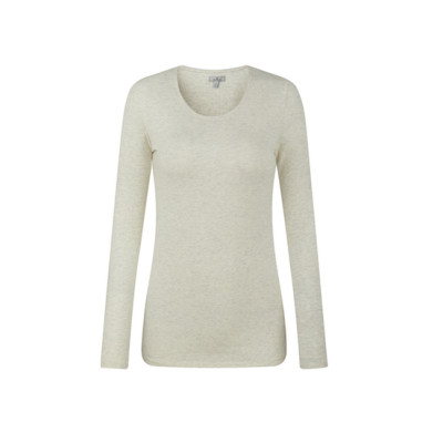 zhAjh Womens Cotton Spandex Scoopneck Long Sleeve Tee