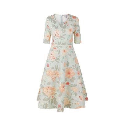 zhAjh Womens TR Spandex Ponte Knit Floral Print Casual Midi Spring Summer Dress