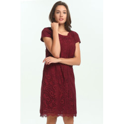zhAjh Womens 100% Polyester Lace Round Neck Shift Dress with Lace Trim
