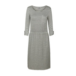 zhAjh Womens 95% Rayon 5% Spandex Round Neck Stripe A Line Dress with Pocket and Sleeve Tab
