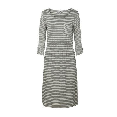 zhAjh Womens 95% Rayon 5% Spandex Round Neck Stripe A Line Dress with Pocket and Sleeve Tab