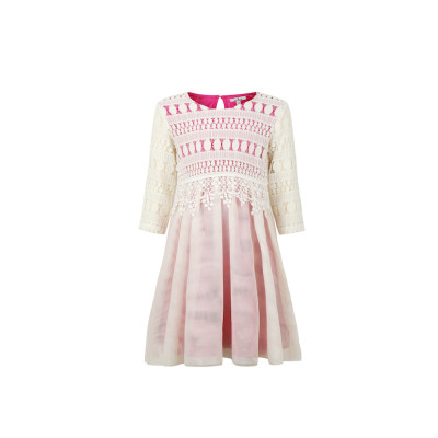 zhAjh Girls Lace Bodice Mesh Skirt with Contrast Color Lining 3/4 Sleeve Midi Dress