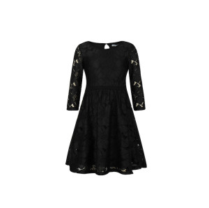 zhAjh Girls 100% Nylon Novelty Lace 3/4 Sleeve Body Lined Midi Dress
