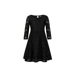 zhAjh Girls 100% Nylon Novelty Lace 3/4 Sleeve Body Lined Midi Dress