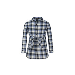 zhAjh Girls 100% Combed Cotton Plaid Waist Bow Tie Shirt Dress