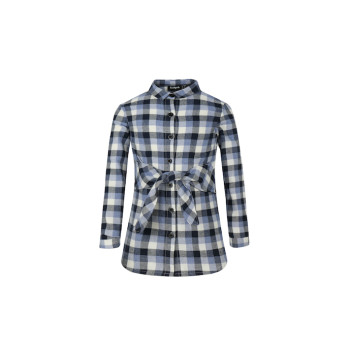 zhAjh Girls 100% Combed Cotton Plaid Waist Bow Tie Shirt Dress