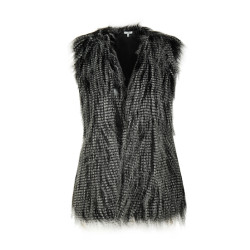 zhAjh Womens Fully Lined No Closure Faux Feather Fur Vest