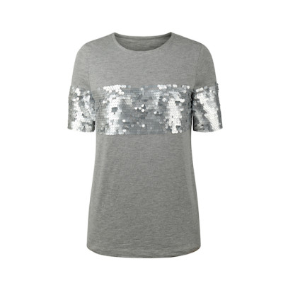 zhAjh Womens 60% Cotton 40% Modal Heather Gray Sequins Embroidered Scoopneck Short Sleeve Fashion Tee