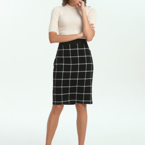 zhAjh Womens TR Spandex Blend Double Woven Plaid Knee Length Pencil Skirt