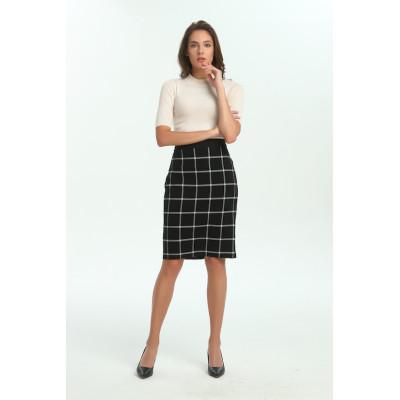 zhAjh Womens TR Spandex Blend Double Woven Plaid Knee Length Pencil Skirt