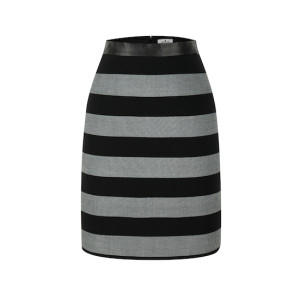 zhAjh Womens TR Spandex Blend Double Woven Stripe Knee Length Pencil Skirt