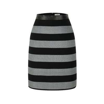 zhAjh Womens TR Spandex Blend Double Woven Stripe Knee Length Pencil Skirt