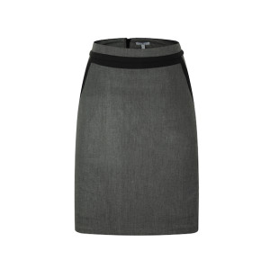 zhAjh Womens TCR Spandex Blend Black Cross Dye Knee Length Pencil Skirt with Contrast Waistband