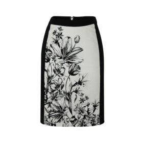 zhAjh Womens 95% Cotton 5% Spandex Placed Screen Print Knee Length Pencil Skirt with Contrast Waistband and Side Panels