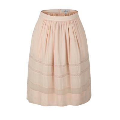zhAjh Womens 100% Modal Knee Length Midi Swing Skirt with Lace Trim and Pockets