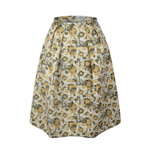 zhAjh Womens 100% Polyester Basket Weave Printed Fully Lined  Knee Length Pleated Circle Skirt