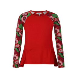 zhAjh Girls 95% Cotton 5% Spandex Knit Jersey Scoop Neck Reglan Printed Long Sleeve Fashion Top with Shirring Detail