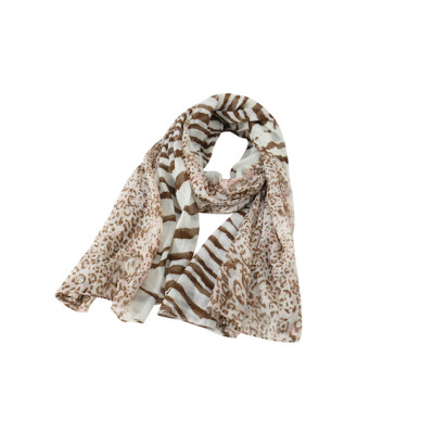 zhAjh Womens 100% Cotton  Lightweight Voile Half Zebra Pattern and Half Leopard Print Scarf