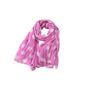 zhAjh Womens 100% Cotton  Lightweight Voile Festive Fuchsia Apple Print Scarf