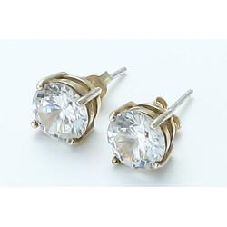 zhAjh Womens 14K Gold Round Checkerboard Cut Gemstone Stud Earrings
