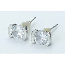 zhAjh Womens  Silver Round Checkerboard Cut Gemstone Stud Earrings