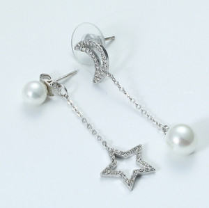 zhAjh Womens  Silver Star Pearl and Pearl Moon Earring Eardrop Jewelry