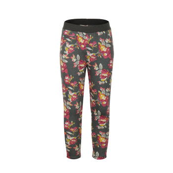 zhAjh Girls 65% Polyester 30% Rayon 5% Spandex Ponte Floral Print Pencil Pant with Elastic Waistband