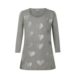 zhAjh Girls 95% Cotton 5% Spandex Jersey Scoop Neck  3/4 Sleeve Graphic Love Heart T Shirt