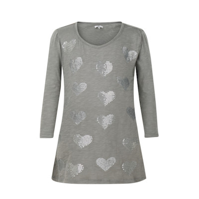 zhAjh Girls 95% Cotton 5% Spandex Jersey Scoop Neck  3/4 Sleeve Graphic Love Heart T Shirt