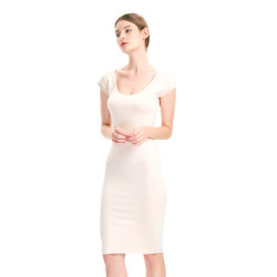 zhAjh Women Rayon Spandex Scoopneck Stretchy Cap Sleeve T Shirt Slip Dress