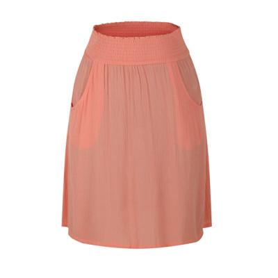 zhAjh Womens 100% Rayon Crinkled Crepe Smoked Waistband Knee Length A Line Skirt with Pockets