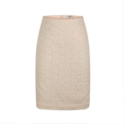 zhAjh Womens 55% Linen 45%Rayon Embroidery Lined Metal Zipper Knee Length Pencil Skirt with Kick Pleat
