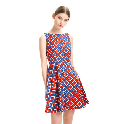 zhAjh Womens Nylon Polyester Spandex Brocade Like Geo Print Party Ceremony Evening  Dress