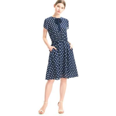 zhAjh Womens Printed Chiffon Bow Tie Neck Elastic Waistband Cap Sleeve Flaired Midi Dress