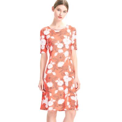 zhAjh Womens Flower Printed Brushed Jersey Half Sleeve Flaired Midi T Shirt Dress