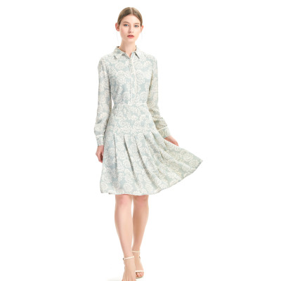 zhAjh Women High Quality Satin Drill  Printed Long Sleeve Box Pleated Knee Length Midi Shirt Dress