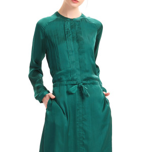 zhAjh Women High Quality Satin Drill  Henley Long Sleeve Pleated Tie Waist Knee Length Midi Shirt Dress with Pockets