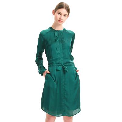 zhAjh Women High Quality Satin Drill  Henley Long Sleeve Pleated Tie Waist Knee Length Midi Shirt Dress with Pockets