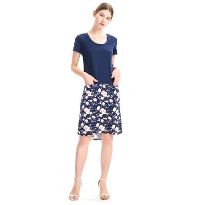zhAjh Women Knit Solid Bodice Woven Print Skirt Short Sleeve Dropped Waist Front Pockets Chemise Dress Knee Length