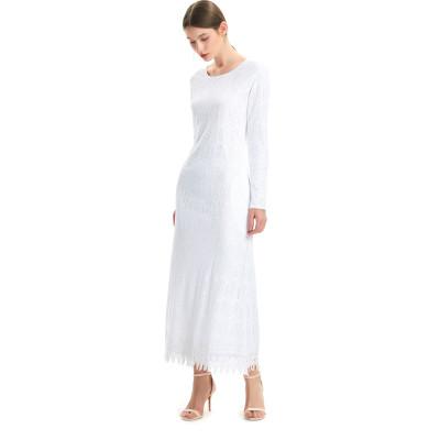 zhAjh Women Cotton Lace A Line Body Long Sleeve Bottom Hem Wide Lace Trim Maxi Dress with Pockets