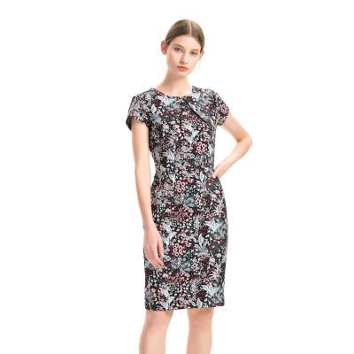 zhAjh Women Fancy Jacquard Front Pleat Fully Lined Waist Seam Knee Length Midi Dress
