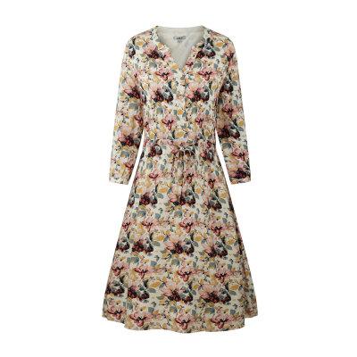 zhAjh Women Printed Rayon Poplin Henley Style Drawstring Waist 3/4 Sleeve Knee Length Midi Dress