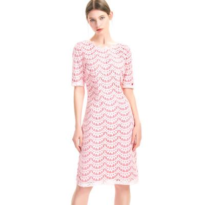 zhAjh Women Nylon Cotton Rayon Half Sleeve Fully lined Lace Shift Dress with Eyelet Lace Trim