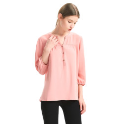zhAjh Womens 100% Polyester Crepe Henley Collar Loose Fit 3/4 Sleeve Elastic Cuff Drapey Fashion Top