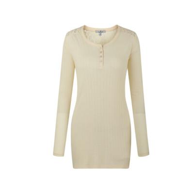 zhAjh Womens Cotton Modal Textured Rib Stretchable Knit Lace Yoke Henley Style Long Sleeve High-low Bottom Fashion Top