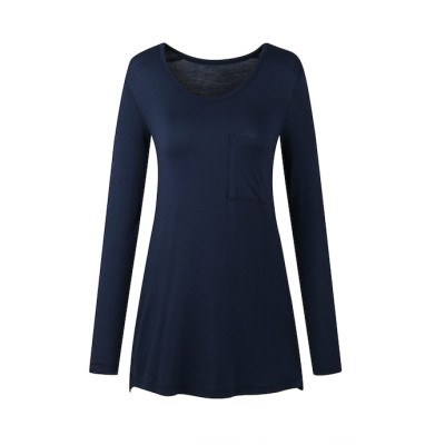 zhAjh Women Rayon Spandex Stretchable Scoopneck Side Slit Long Sleeve T Shirt with Chest Pocket