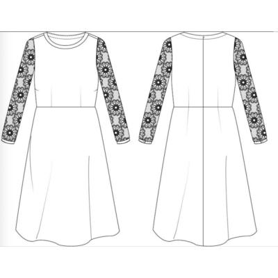 zhAjh Women High Quality Poly-Twill Embroidery Lace Long Sleeve Anti-wrinkle Knee Length Midi Dress