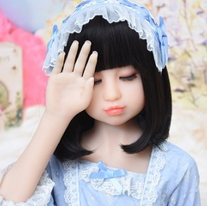 100cm Real Mini silicone sex doll for men closed eyes 3 Holes Vagina Anal Oral
