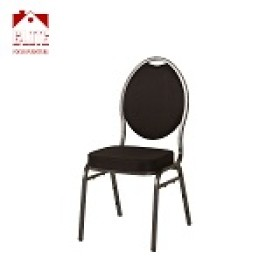 Teardrop Back Stacking Banquet Chair in Black Fabric - Silve Frame